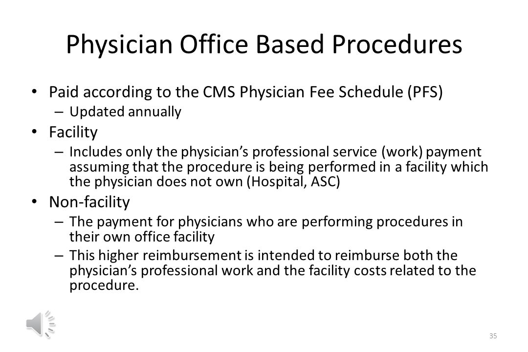 Place of Service Codes are utilized on professional claims to specify the entity where service(s) were rendered Applicable codes to vascular access procedures – 11 office – 22 outpatient hospital – 24 ambulatory surgery center – 21 inpatient hospital 34