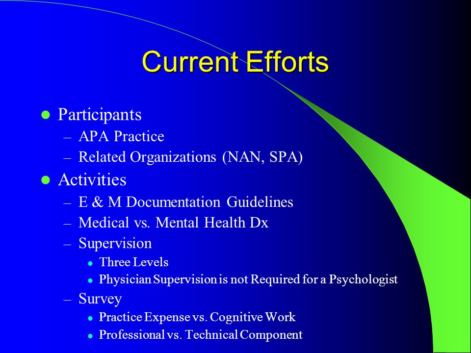 Current Efforts Participants – APA Practice – Related Organizations (NAN, SPA) Activities – E & M Documentation Guidelines – Medical vs.