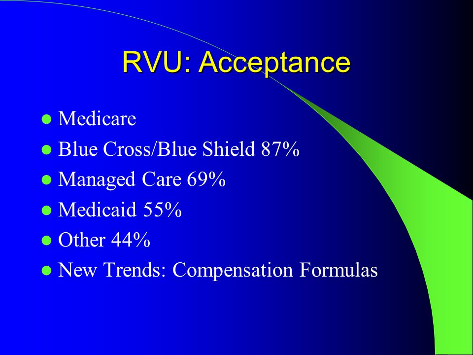 RVU: Acceptance Medicare Blue Cross/Blue Shield 87% Managed Care 69% Medicaid 55% Other 44% New Trends: Compensation Formulas