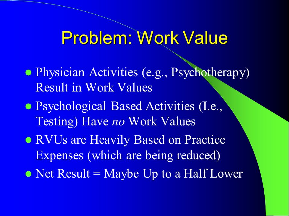 Problem: Work Value Physician Activities (e.g., Psychotherapy) Result in Work Values Psychological Based Activities (I.e., Testing) Have no Work Values RVUs are Heavily Based on Practice Expenses (which are being reduced) Net Result = Maybe Up to a Half Lower