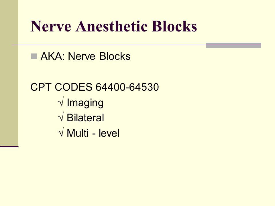 Nerve Anesthetic Blocks AKA: Nerve Blocks CPT CODES 64400-64530 √ Imaging √ Bilateral √ Multi - level