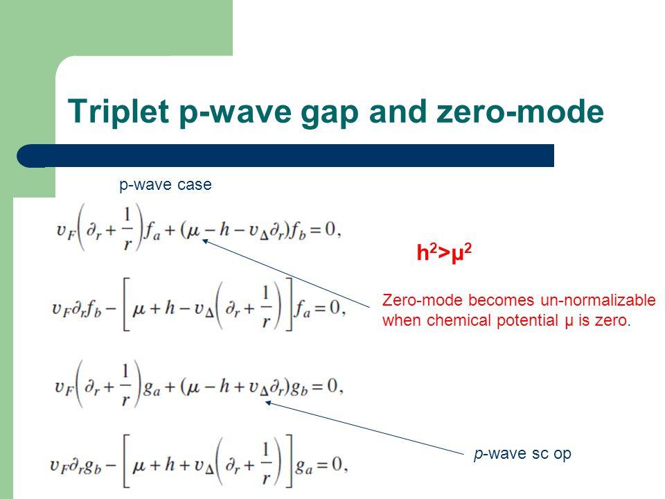 p-wave case Triplet p-wave gap and zero-mode Zero-mode becomes un-normalizable when chemical potential μ is zero.
