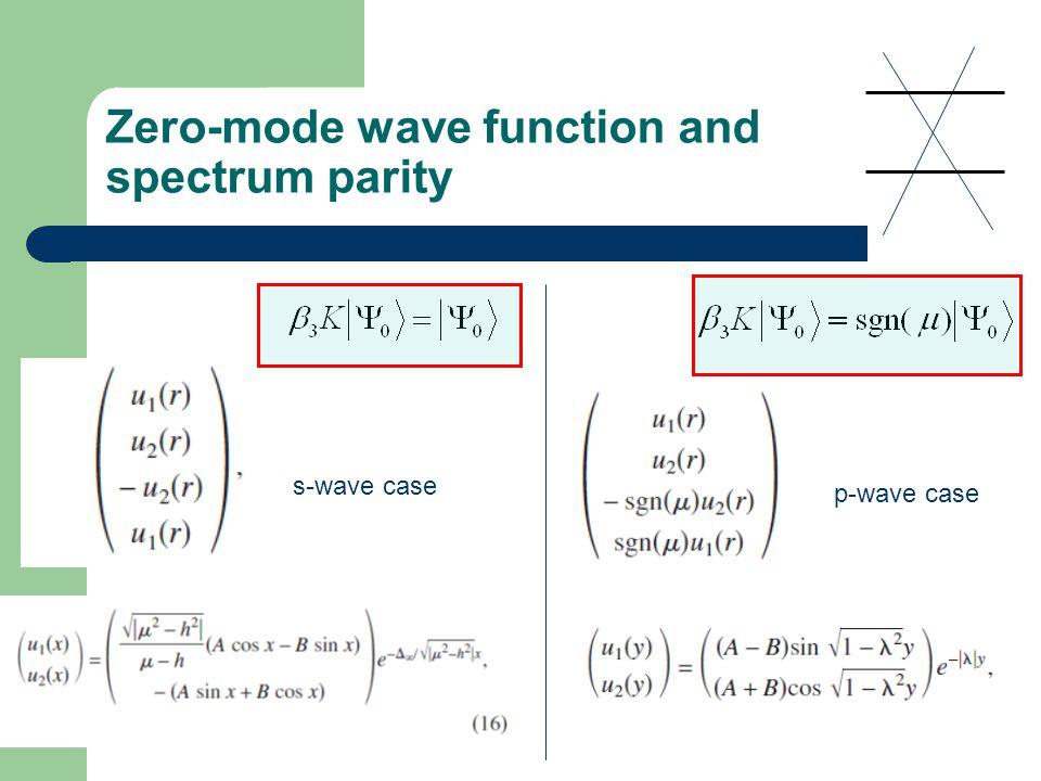 Zero-mode wave function and spectrum parity s-wave case p-wave case