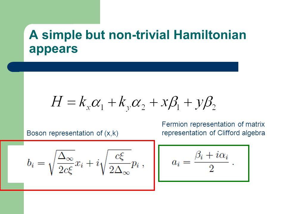 A simple but non-trivial Hamiltonian appears Boson representation of (x,k) Fermion representation of matrix representation of Clifford algebra