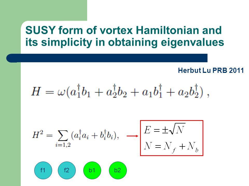 SUSY form of vortex Hamiltonian and its simplicity in obtaining eigenvalues Herbut Lu PRB 2011 f1f2b1b2
