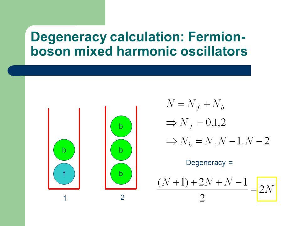 Degeneracy calculation: Fermion- boson mixed harmonic oscillators 1 2 f b b b b Degeneracy =