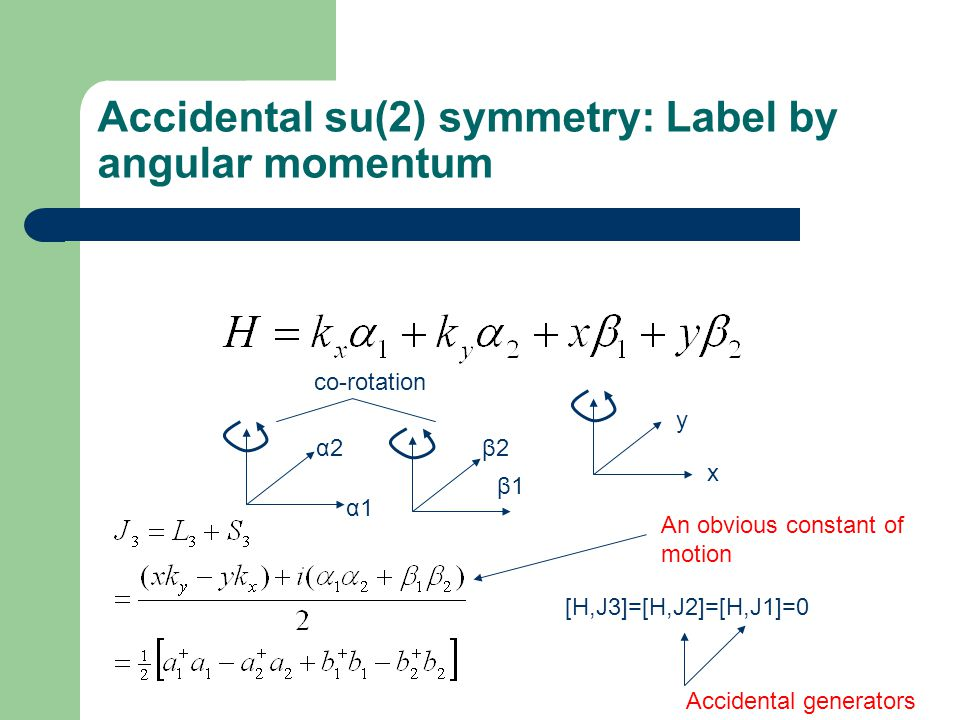Accidental su(2) symmetry: Label by angular momentum α1 α2 β1 β2 x y [H,J3]=[H,J2]=[H,J1]=0 An obvious constant of motion Accidental generators co-rotation
