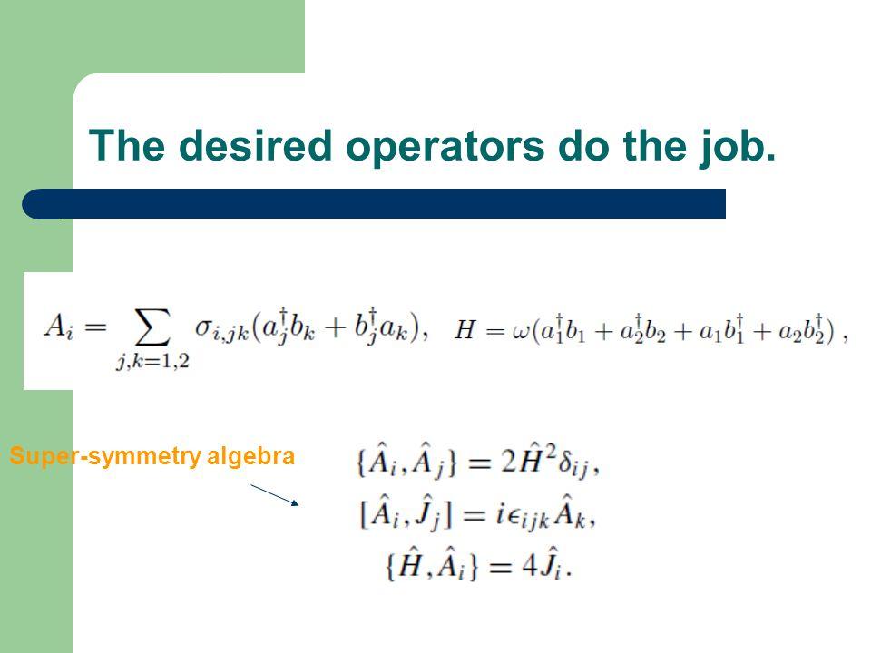 The desired operators do the job. Super-symmetry algebra