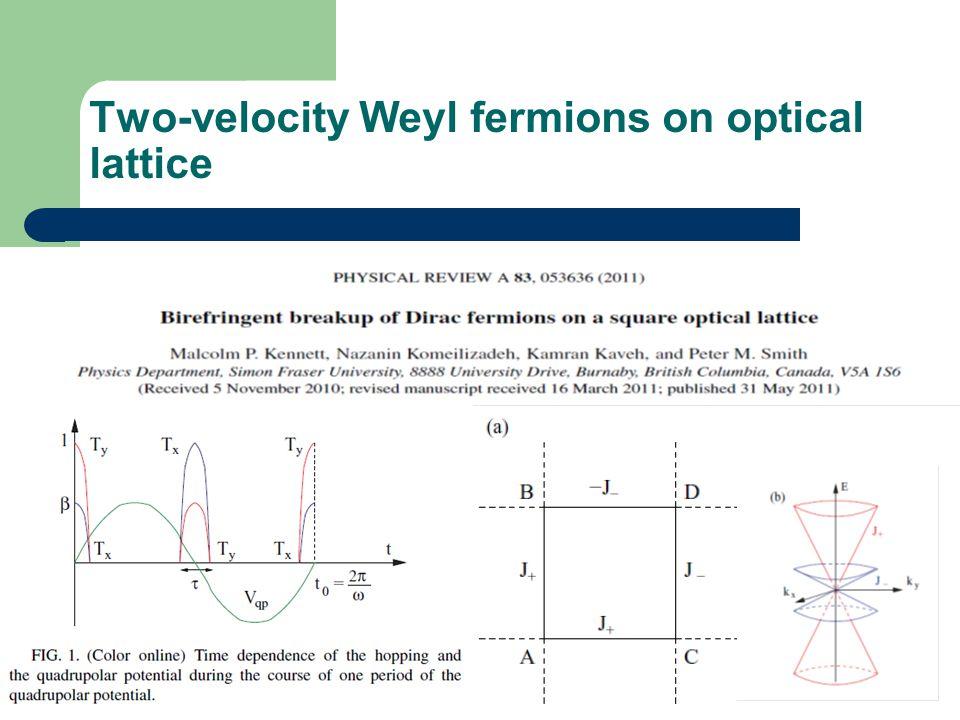 Two-velocity Weyl fermions on optical lattice