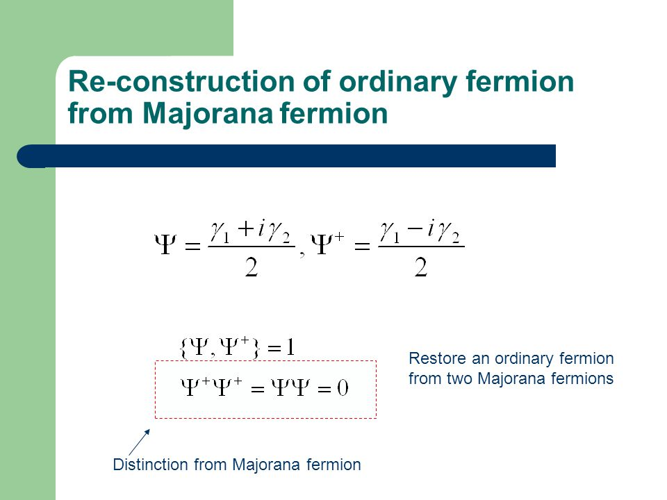Re-construction of ordinary fermion from Majorana fermion Restore an ordinary fermion from two Majorana fermions Distinction from Majorana fermion