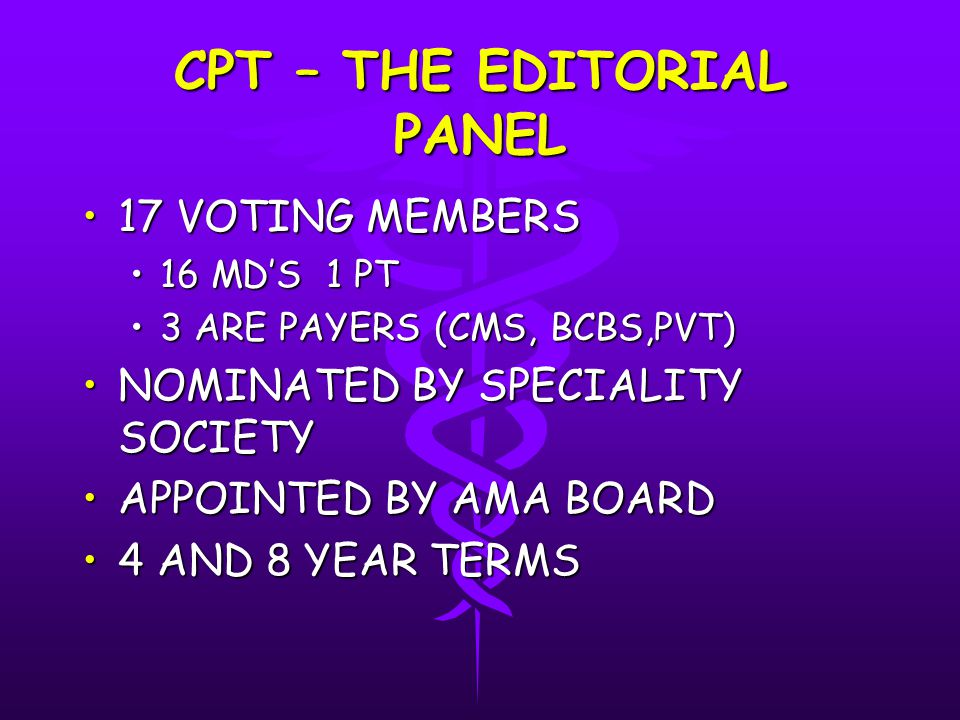 CPT – THE EDITORIAL PANEL 17 VOTING MEMBERS17 VOTING MEMBERS 16 MD'S 1 PT16 MD'S 1 PT 3 ARE PAYERS (CMS, BCBS,PVT)3 ARE PAYERS (CMS, BCBS,PVT) NOMINATED BY SPECIALITY SOCIETYNOMINATED BY SPECIALITY SOCIETY APPOINTED BY AMA BOARDAPPOINTED BY AMA BOARD 4 AND 8 YEAR TERMS4 AND 8 YEAR TERMS