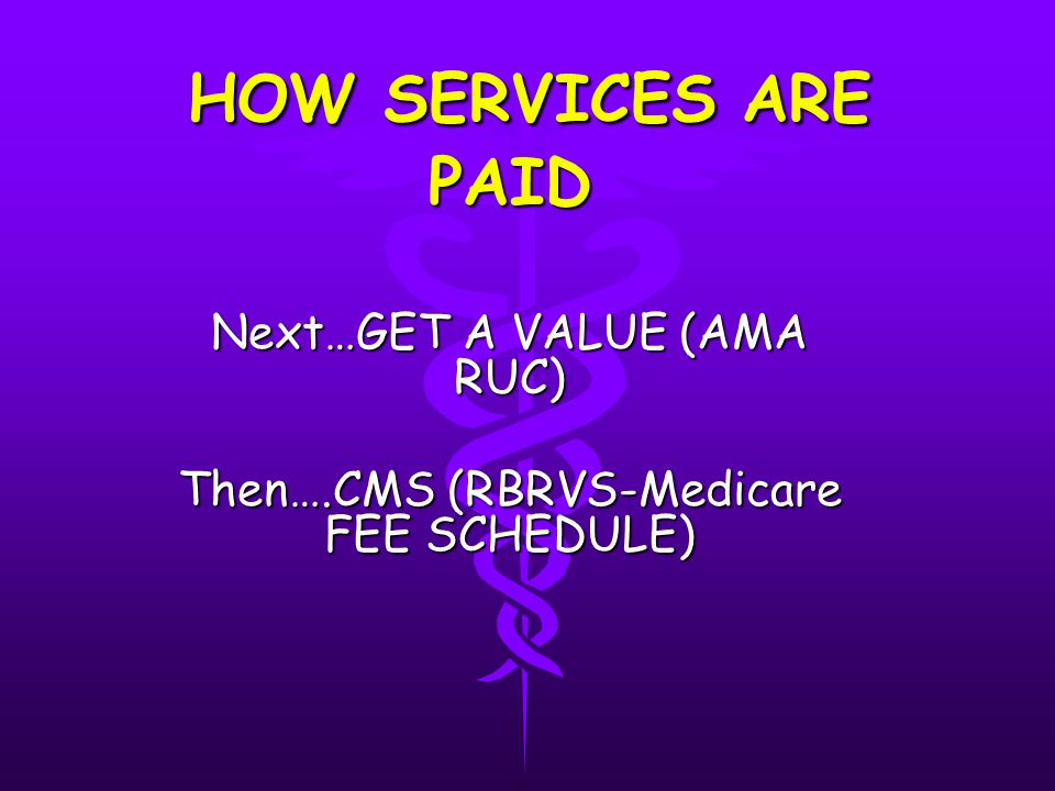HOW SERVICES ARE PAID HOW SERVICES ARE PAID Next…GET A VALUE (AMA RUC) Then….CMS (RBRVS-Medicare FEE SCHEDULE)