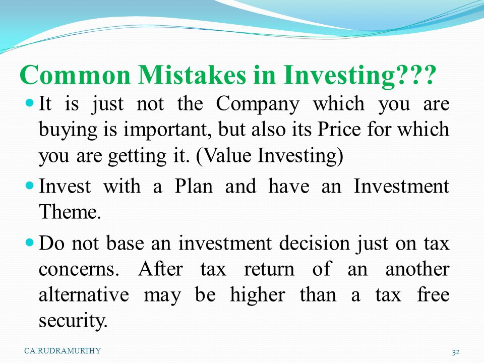 Common Mistakes in Investing??? It is just not the Company which you are buying is important, but also its Price for which you are getting it. (Value