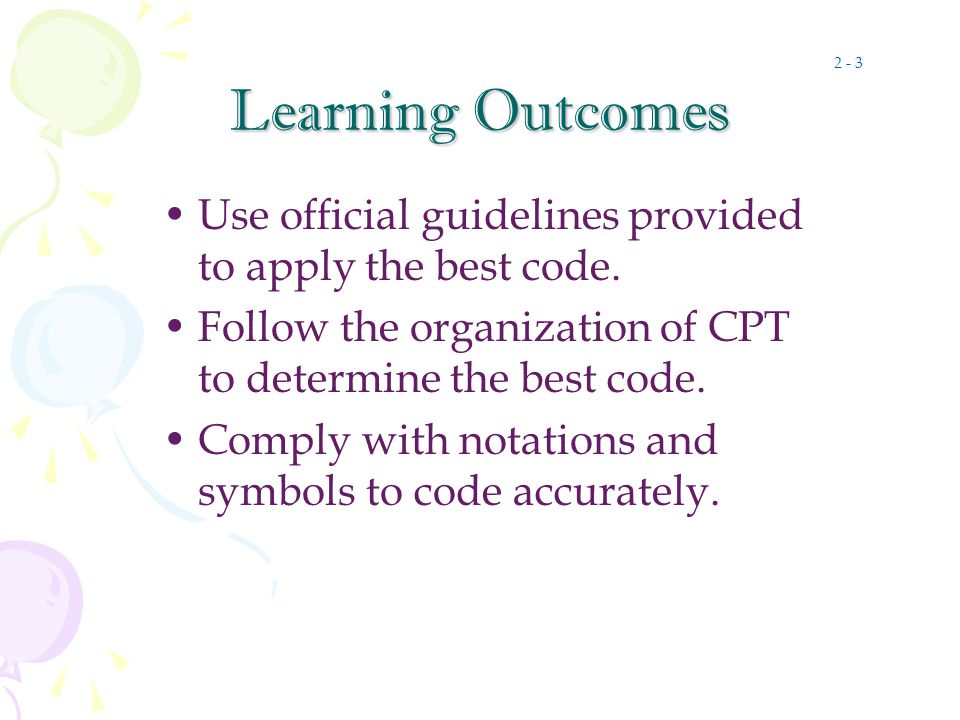 Learning Outcomes Use official guidelines provided to apply the best code.