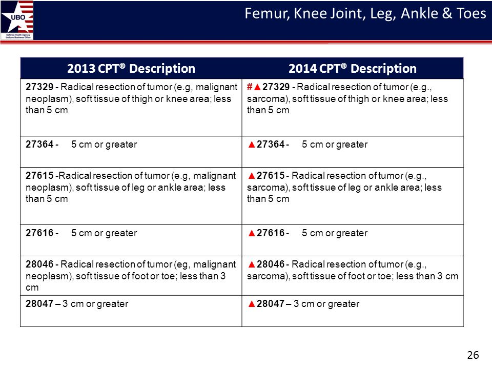 Femur, Knee Joint, Leg, Ankle & Toes 26 2013 CPT® Description2014 CPT® Description 27329 - Radical resection of tumor (e.g, malignant neoplasm), soft