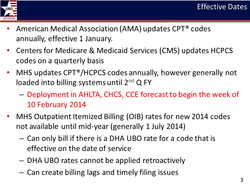 Effective Dates American Medical Association (AMA) updates CPT® codes annually, effective 1 January. Centers for Medicare & Medicaid Services (CMS) up