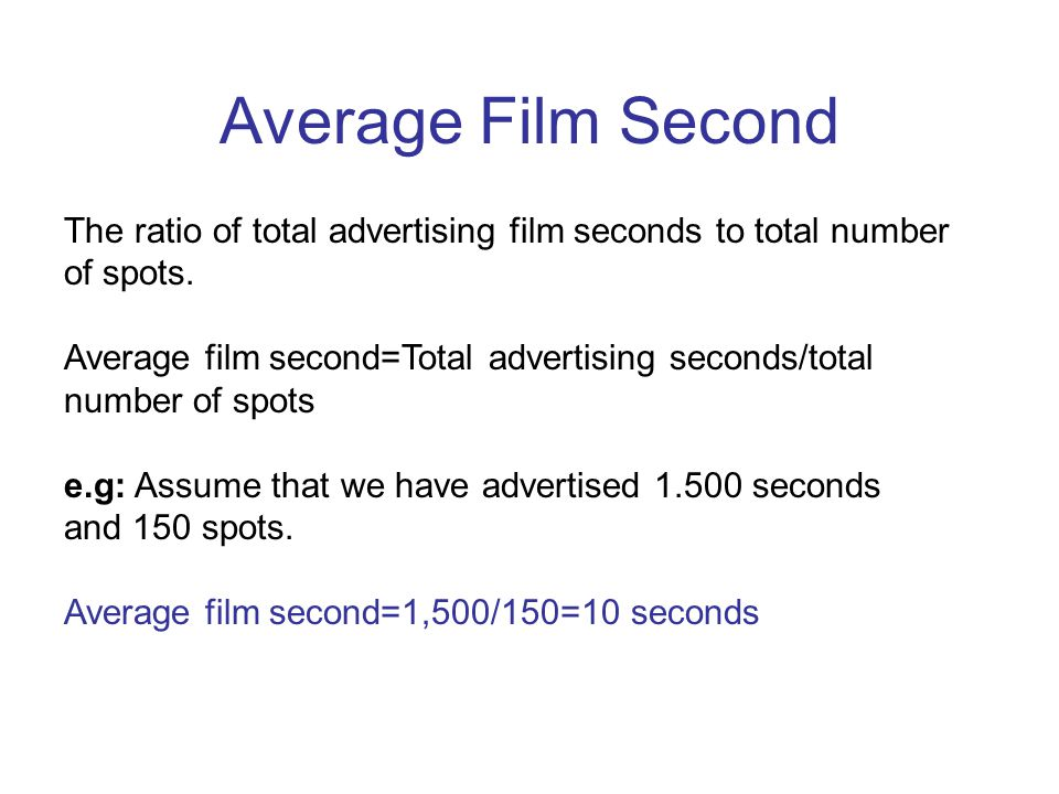 Average Film Second The ratio of total advertising film seconds to total number of spots.