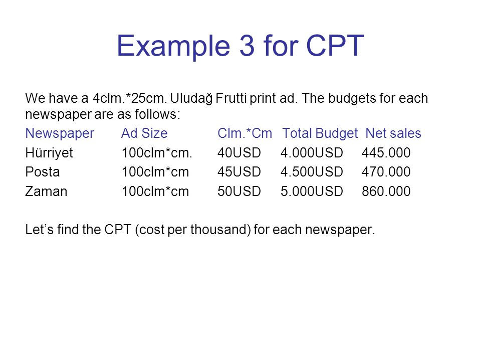 Example 3 for CPT We have a 4clm.*25cm. Uludağ Frutti print ad.