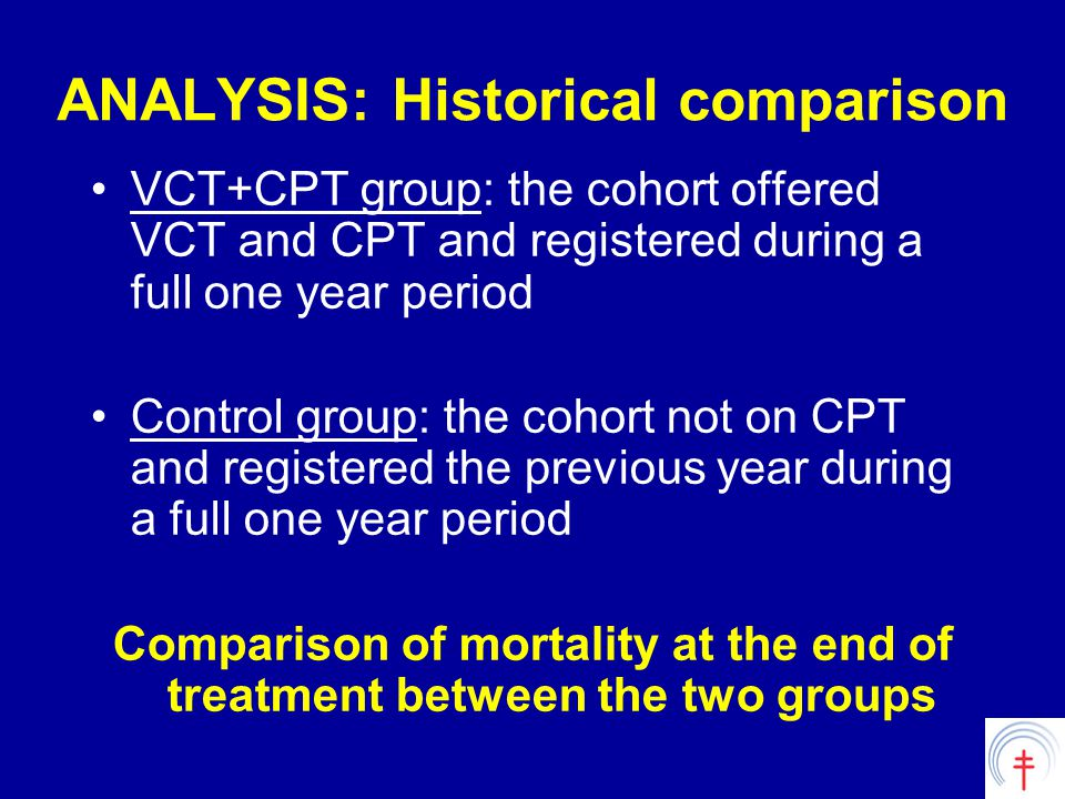 ANALYSIS: Historical comparison VCT+CPT group: the cohort offered VCT and CPT and registered during a full one year period Control group: the cohort not on CPT and registered the previous year during a full one year period Comparison of mortality at the end of treatment between the two groups
