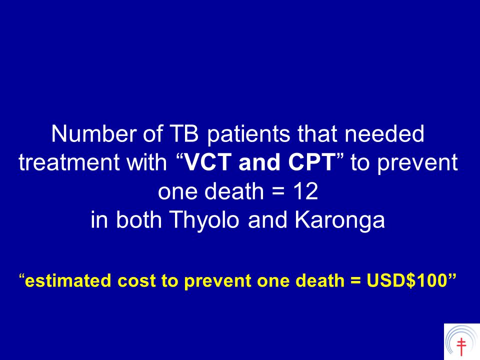 Number of TB patients that needed treatment with VCT and CPT to prevent one death = 12 in both Thyolo and Karonga estimated cost to prevent one death = USD$100