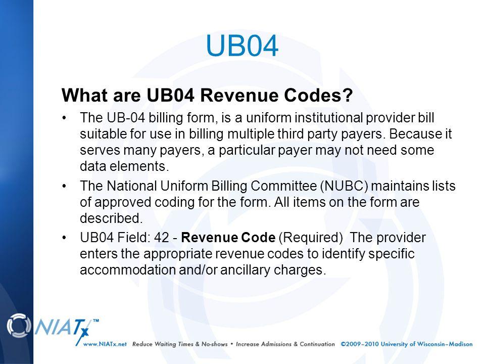 UB04 What are UB04 Revenue Codes.