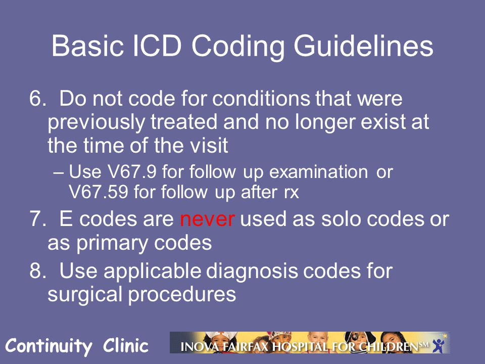 Continuity Clinic Basic ICD Coding Guidelines 6.