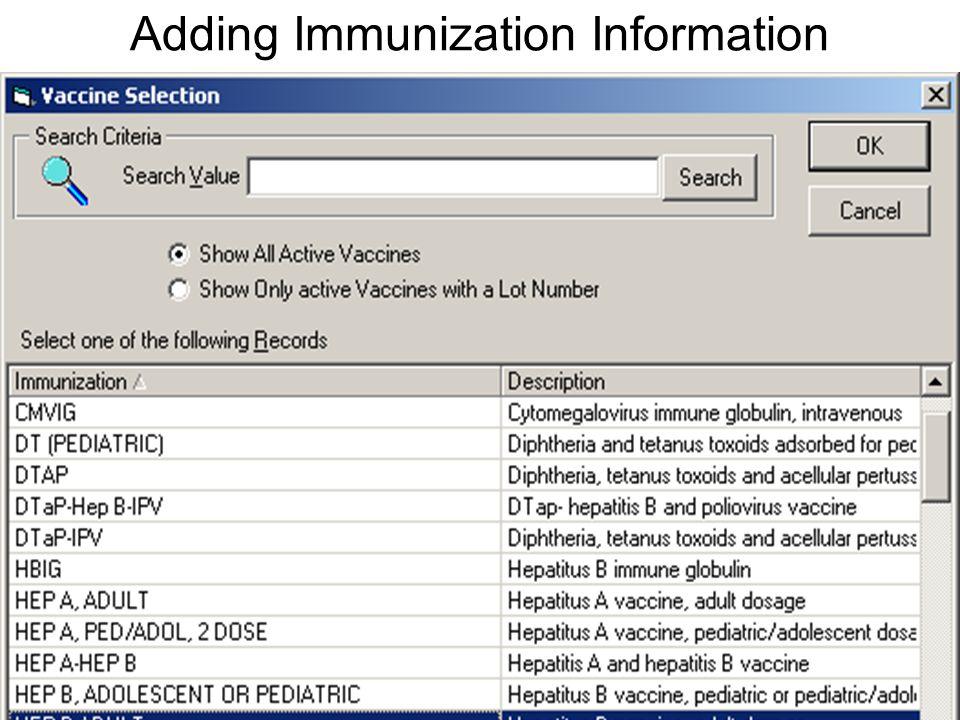 Adding Immunization Information