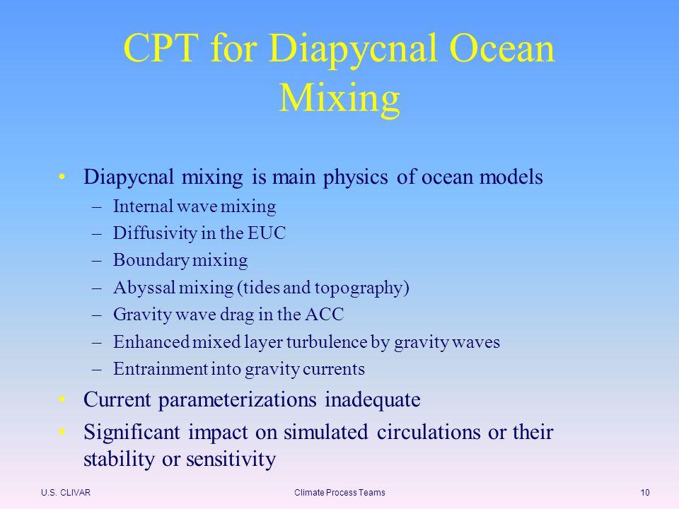 U.S. CLIVARClimate Process Teams10 CPT for Diapycnal Ocean Mixing Diapycnal mixing is main physics of ocean models –Internal wave mixing –Diffusivity