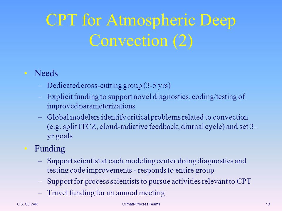 U.S. CLIVARClimate Process Teams13 CPT for Atmospheric Deep Convection (2) Needs –Dedicated cross-cutting group (3-5 yrs) –Explicit funding to support