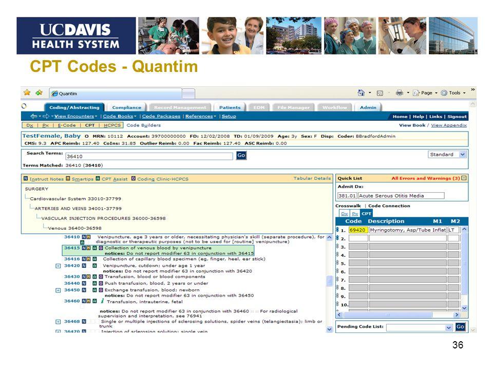 CPT Codes - Quantim 36