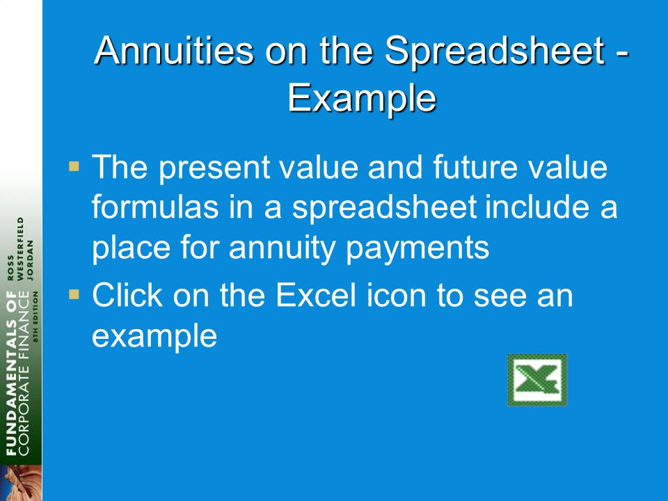 Annuities on the Spreadsheet - Example  The present value and future value formulas in a spreadsheet include a place for annuity payments  Click on
