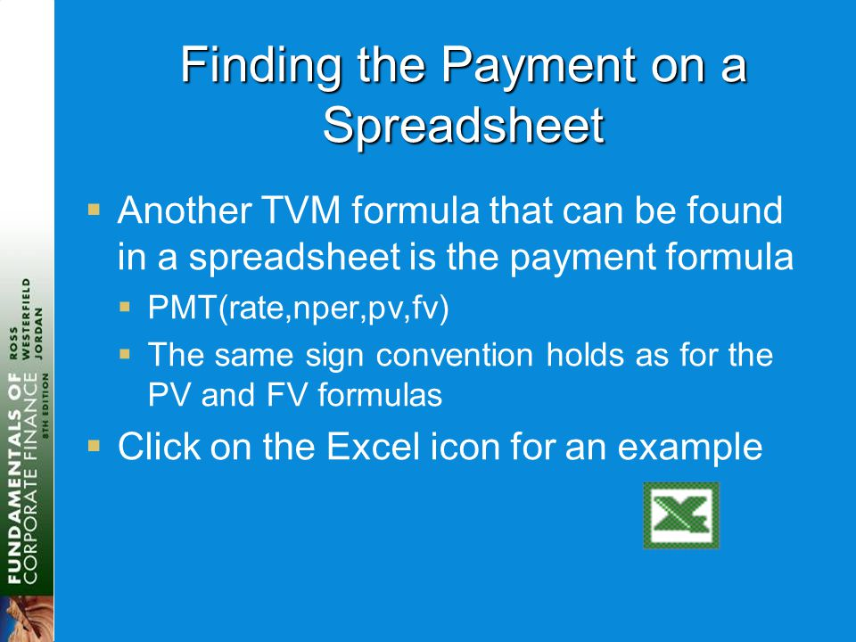Finding the Payment on a Spreadsheet  Another TVM formula that can be found in a spreadsheet is the payment formula  PMT(rate,nper,pv,fv)  The same
