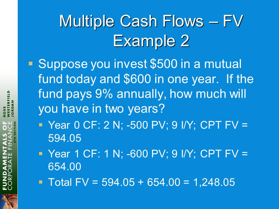 Multiple Cash Flows – FV Example 2  Suppose you invest $500 in a mutual fund today and $600 in one year. If the fund pays 9% annually, how much will