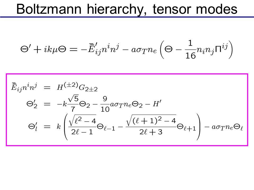 Boltzmann hierarchy, tensor modes
