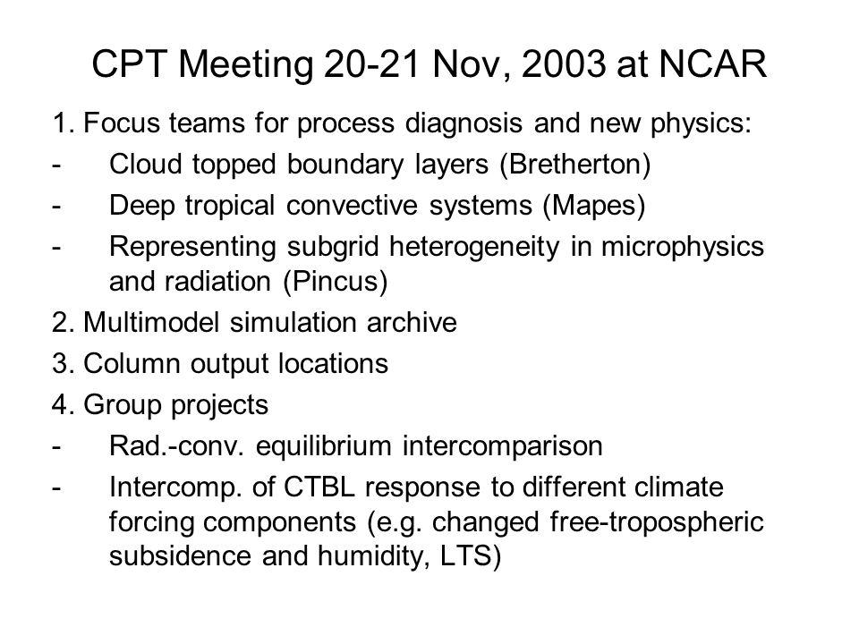 CPT Meeting 20-21 Nov, 2003 at NCAR 1.