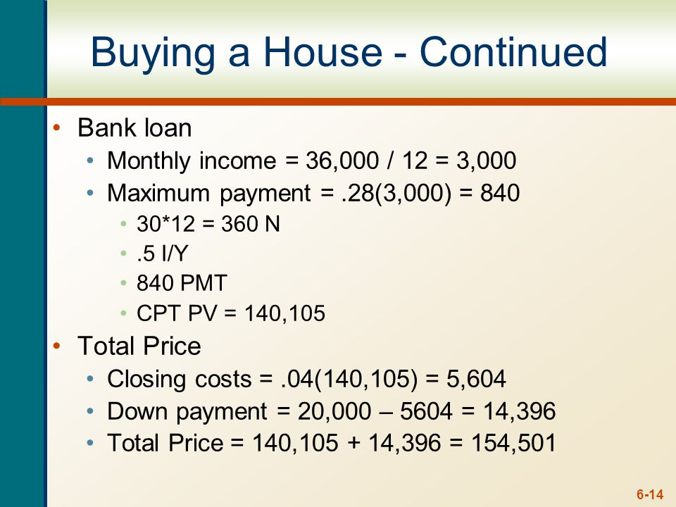 6-14 Buying a House - Continued Bank loan Monthly income = 36,000 / 12 = 3,000 Maximum payment =.28(3,000) = 840 30*12 = 360 N.5 I/Y 840 PMT CPT PV =