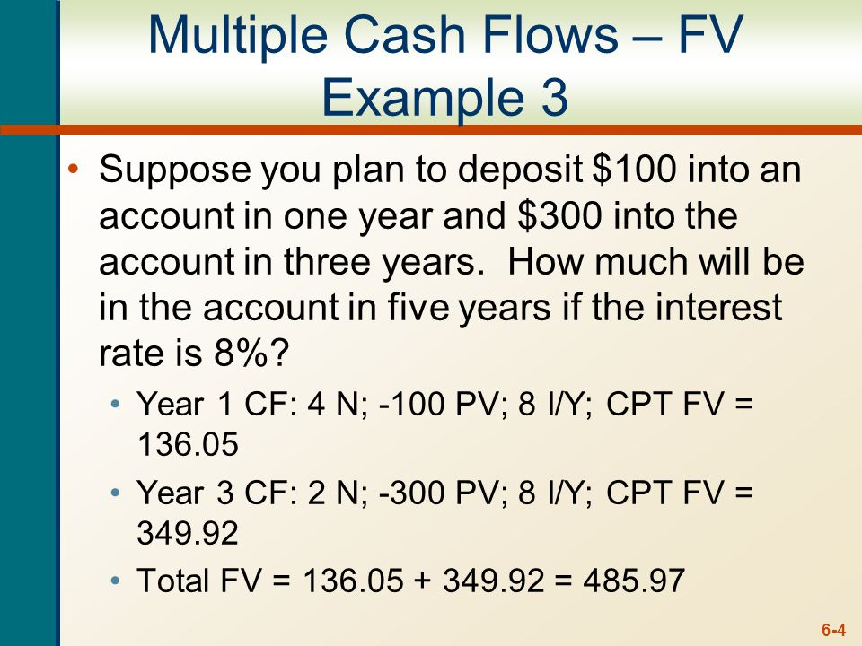 6-4 Multiple Cash Flows – FV Example 3 Suppose you plan to deposit $100 into an account in one year and $300 into the account in three years. How much