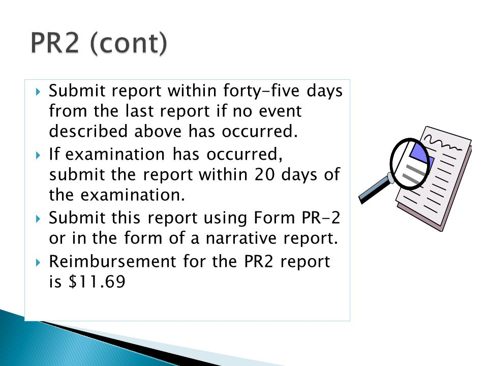  Submit report within forty-five days from the last report if no event described above has occurred.