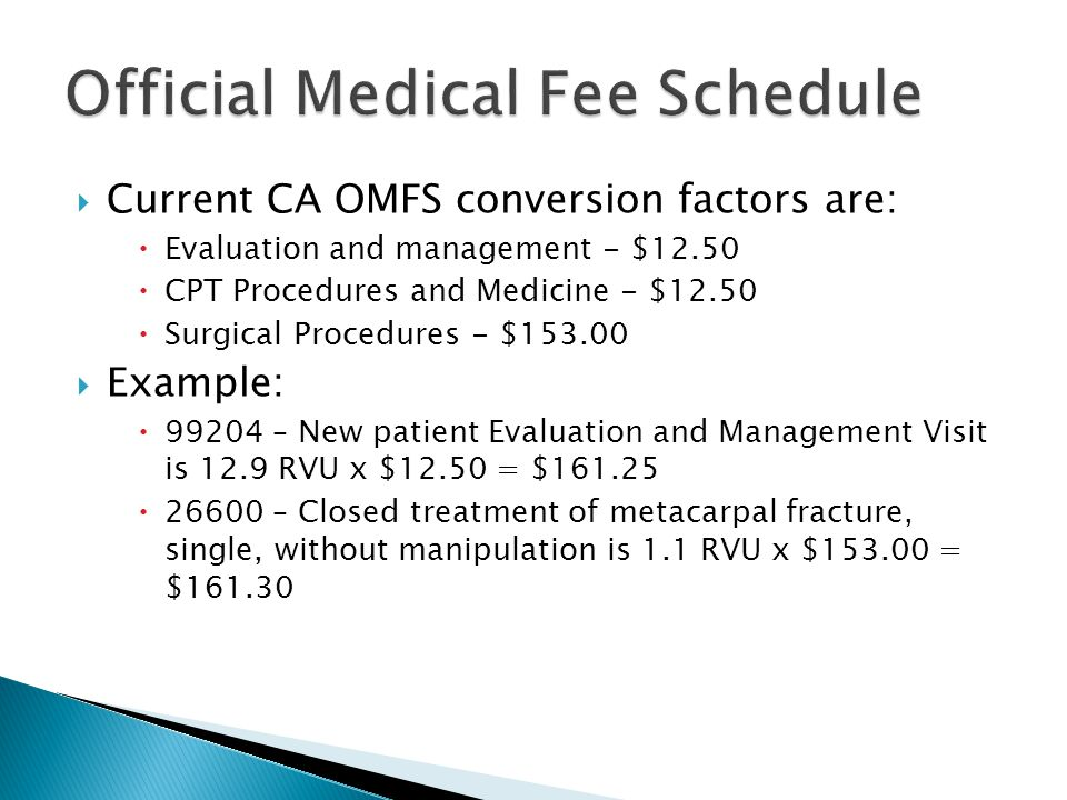  Current CA OMFS conversion factors are:  Evaluation and management - $12.50  CPT Procedures and Medicine - $12.50  Surgical Procedures - $153.00  Example:  99204 – New patient Evaluation and Management Visit is 12.9 RVU x $12.50 = $161.25  26600 – Closed treatment of metacarpal fracture, single, without manipulation is 1.1 RVU x $153.00 = $161.30