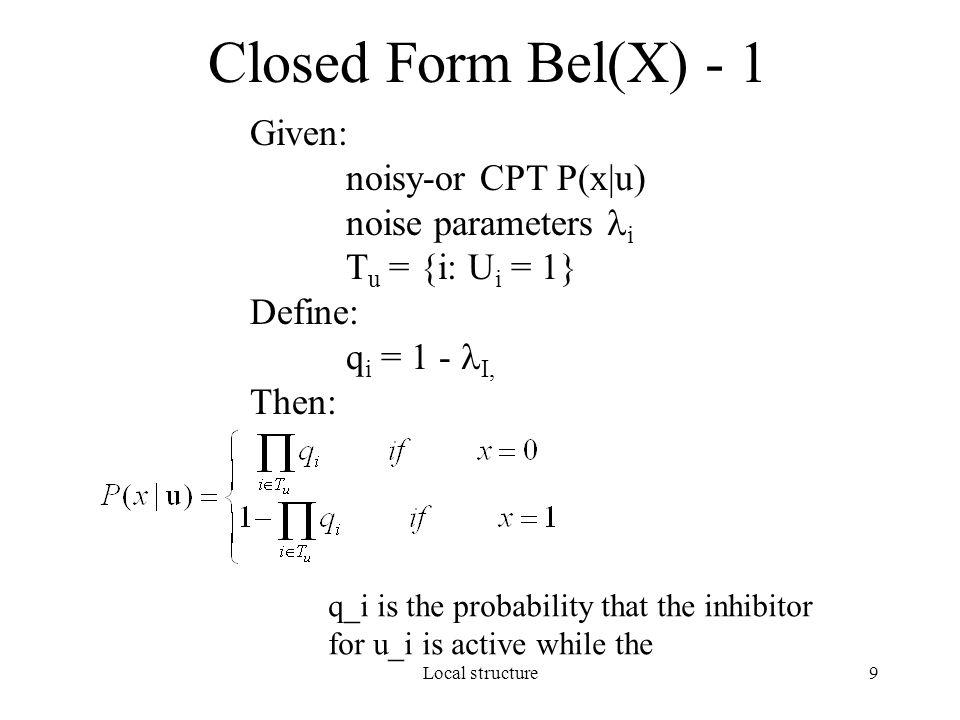 Local structure10 Closed Form Bel(X) - 2 Using Iterative Belief Propagation : Set pi ix = pi x (u k =1).