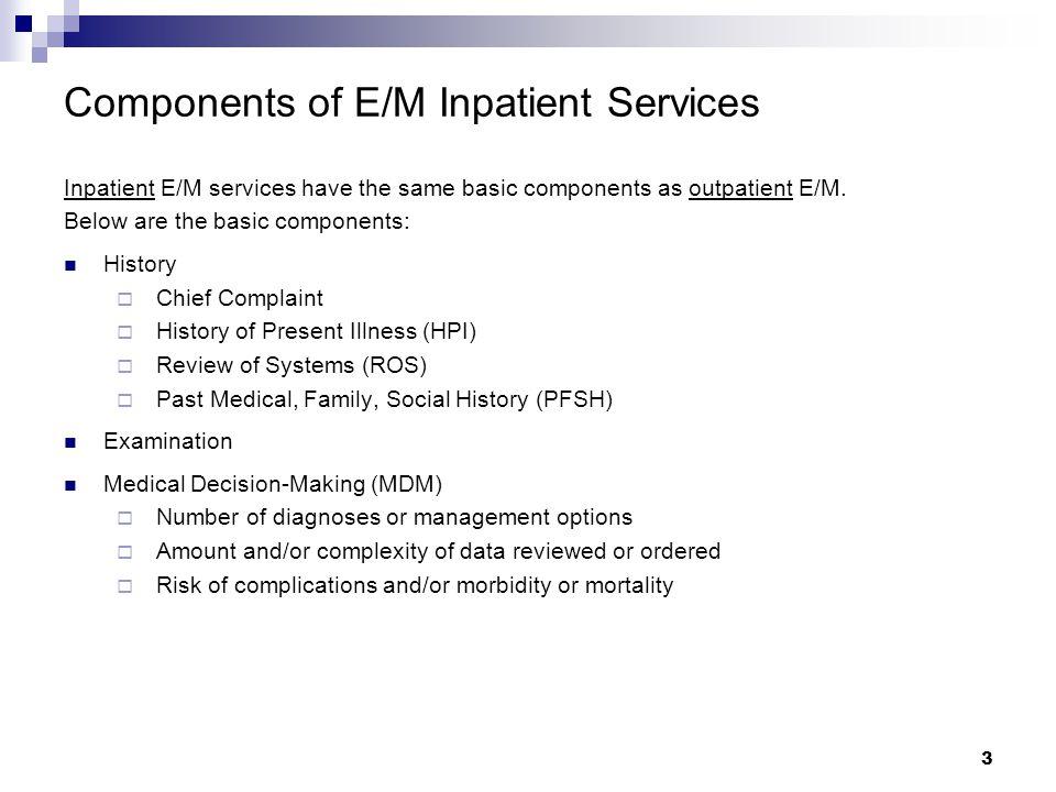 3 Components of E/M Inpatient Services Inpatient E/M services have the same basic components as outpatient E/M.
