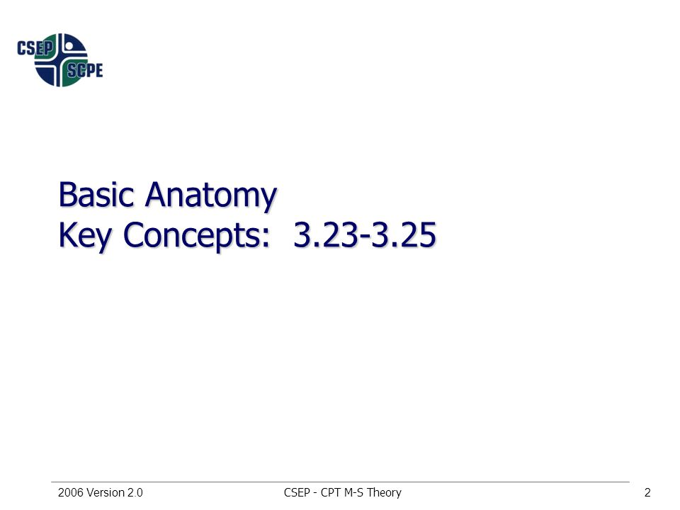CSEP - CPT M-S Theory2006 Version 2.02 Basic Anatomy Key Concepts: 3.23-3.25