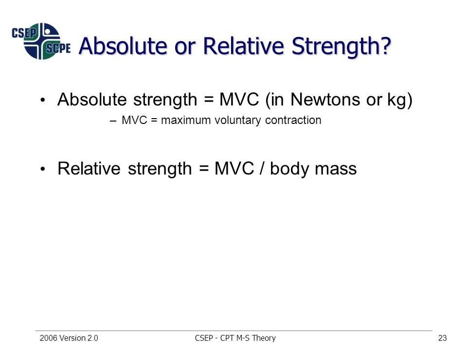 CSEP - CPT M-S Theory2006 Version 2.023 Absolute or Relative Strength.