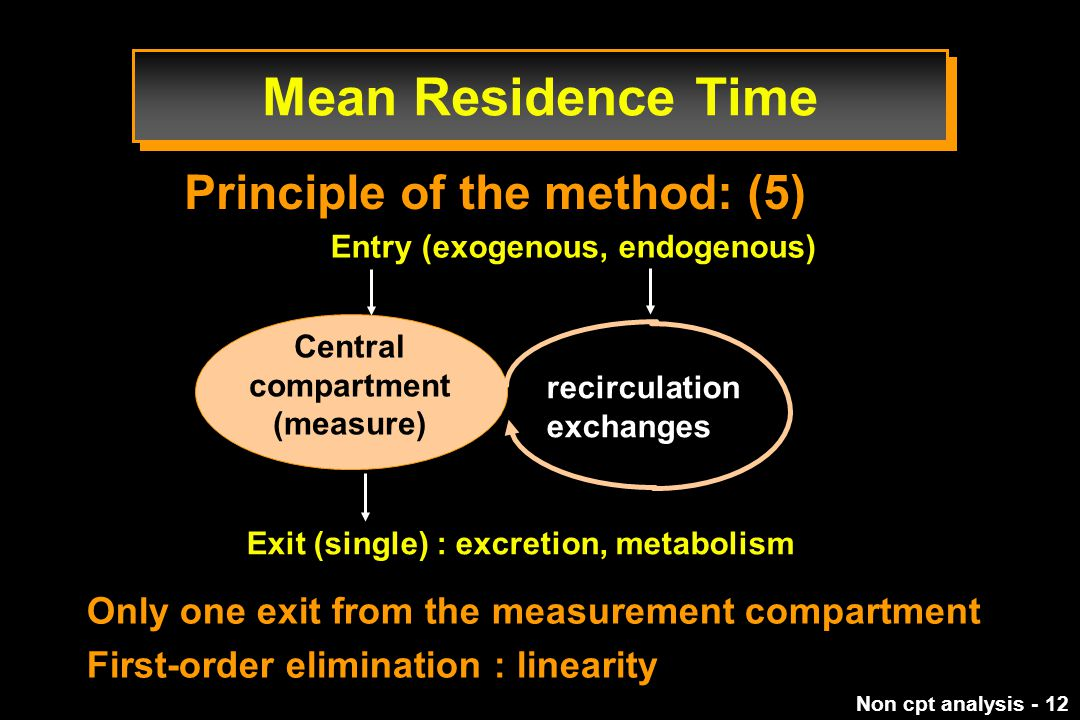 Non cpt analysis - 12 Only one exit from the measurement compartment First-order elimination : linearity Principle of the method: (5) Entry (exogenous, endogenous) Exit (single) : excretion, metabolism recirculation exchanges Central compartment (measure) Mean Residence Time