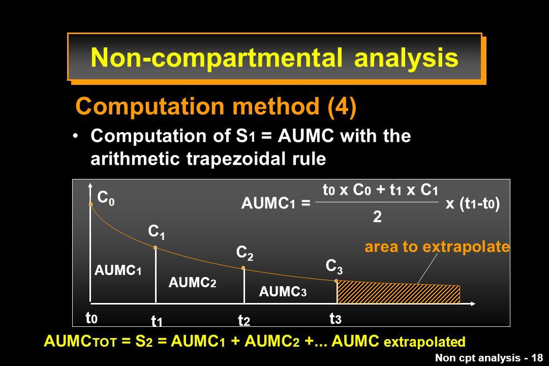 Non cpt analysis - 18 Computation of S 1 = AUMC with the arithmetic trapezoidal rule AUMC 1 = x (t 1 -t 0 ) t 0 x C 0 + t 1 x C 1 2 C0C0 t0t0 t1t1 t2t2 t3t3 AUMC 1 AUMC 2 AUMC 3 area to extrapolate AUMC TOT = S 2 = AUMC 1 + AUMC 2 +...