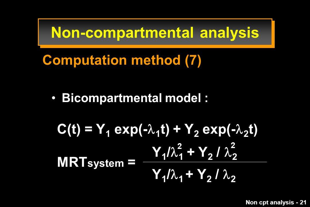 Non cpt analysis - 21 Bicompartmental model : C(t) = Y 1 exp(- 1 t) + Y 2 exp(- 2 t) MRT system = Y 1 / 1 + Y 2 / 2 2 2 Computation method (7) Non-compartmental analysis