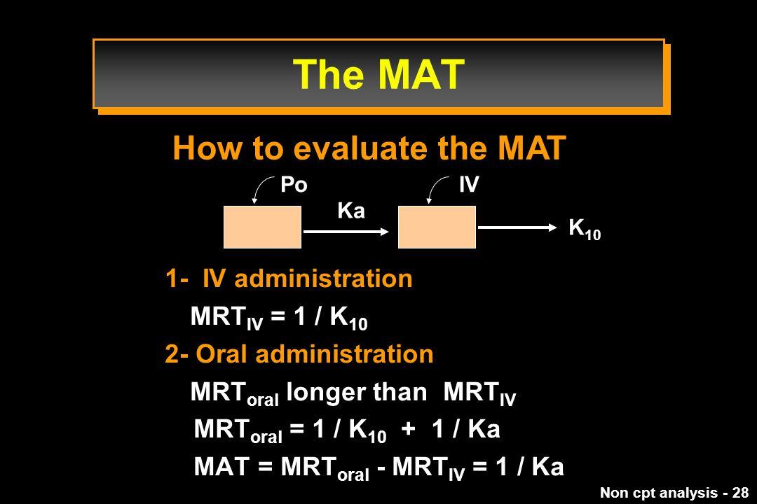 Non cpt analysis - 28 1- IV administration MRT IV = 1 / K 10 2- Oral administration MRT oral longer than MRT IV MRT oral = 1 / K 10 + 1 / Ka MAT = MRT oral - MRT IV = 1 / Ka How to evaluate the MAT Ka K 10 IVPo The MAT