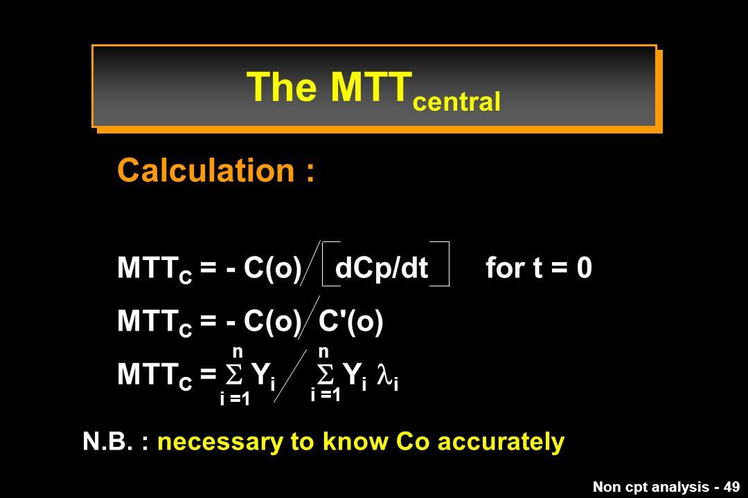 Non cpt analysis - 49 Calculation : MTT C = - C(o) dCp/dt for t = 0 MTT C = - C(o) C (o) MTT C =  Y i  Y i i N.B.
