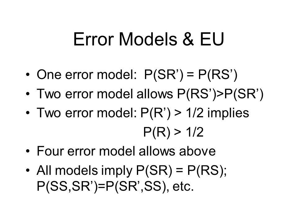 Error Models & EU One error model: P(SR') = P(RS') Two error model allows P(RS')>P(SR') Two error model: P(R') > 1/2 implies P(R) > 1/2 Four error model allows above All models imply P(SR) = P(RS); P(SS,SR')=P(SR',SS), etc.