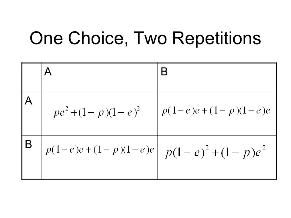 One Choice, Two Repetitions AB A B